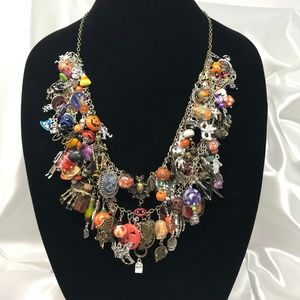 Halloween Bohemian Chic Charm Statement Necklace